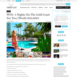 Win 5 nights on the Gold Coast for 2 worth $10,000!