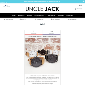 Win 5 unisex watches from 'UNCLE JACK'!