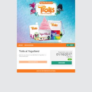 Win $50 worth of Yogurtland & a Troll's snack pack!