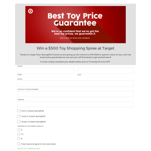 Win $500 toy shopping spree at Orion Springfield Target
