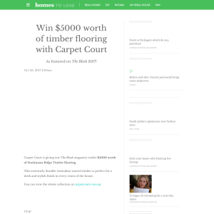 Win $5000 Worth Of Timber Flooring With Carpet Court