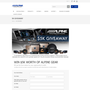 Win $5K worth of ALPINE gear!
