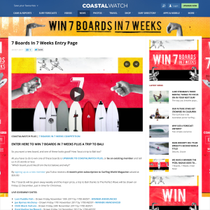 Win 7 Boards in 7 weeks plus a trip to Bali