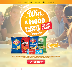 Win a $1,000 'Flight Centre' gift card daily!