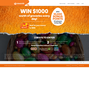 Win a $1,000 worth of groceries every day! (Purchase Required)