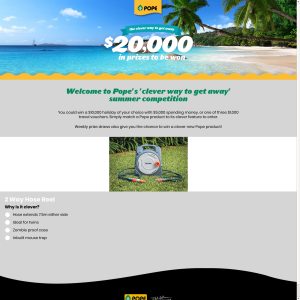 Win a $10,000 holiday of your choice + $5000 spending money