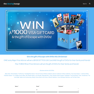 Win a $1000 Visa Gift Card and the gift of Escape with DVDs