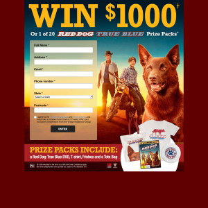 Win a $1000 Visa gift card or 1 of 20 Red Dog: True Blue packs