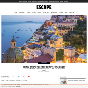Win a $12,000 Collette Travel voucher