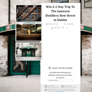 Win a 2-day trip to the 'Jameson Distillery Bow Street' in Dublin!