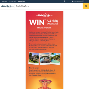 Win a 2 night getaway at any Australian Peppers, Mantra or BreakFree Hotel
