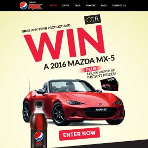 Win a 2016 Mazda MX-5 or 1 of 150 $100 Eftpos gift cards!