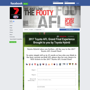 Win a 2017 Toyota AFL Grand Final Package for 2