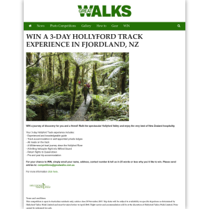 Win a 3-day Hollyford Track Experience in Fjorland, NZ