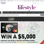 Win a $5,000 around the world online shopping spree + 1 of 4 $100 pre-loaded cash passports!