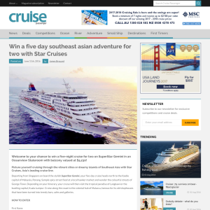 Win a 5-day Southeast Asian adventure for 2 with Star Cruises!