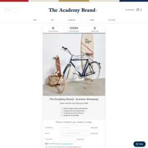 Win a $500 Academy Brand Wardrobe, Surfboard, Skateboard & Bike