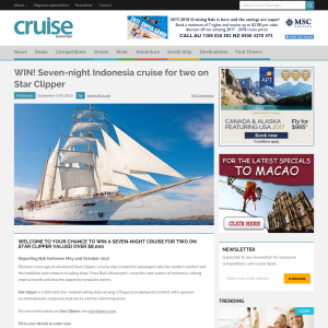 Win a 7-night cruise for 2 on 'Star Clipper', valued at over $8,000!