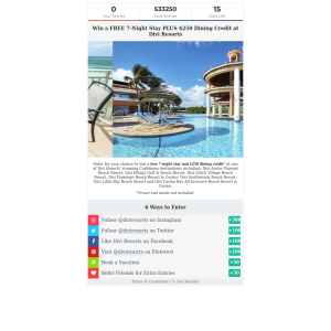 Win a 7-Night Stay + $250 Dining Credit at Divi Resorts in the Caribbean! (Flights NOT Included)