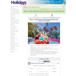 Win a 7 night stay at North Star Holiday Park