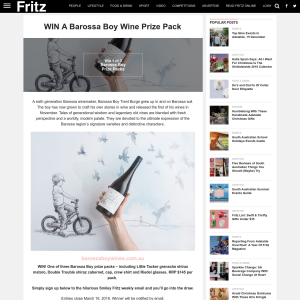 Win A Barossa Boy Wine Prize Pack