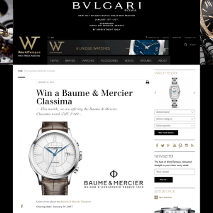 Win a Baume & Mercier Classima watch!