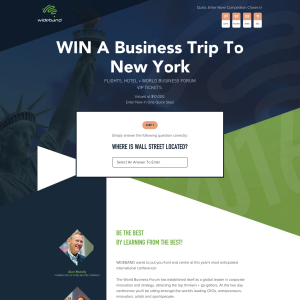Win a business trip to New York, including 'World Business Forum' VIP tickets!