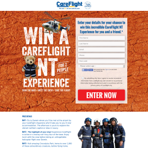 Win a CareFlight NT for 2 people experience