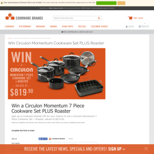 Win a Circulon 'Momentum' 7-piece cookware set & roaster!