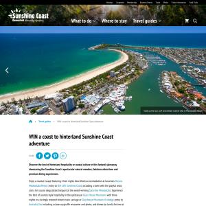 Win a coast to hinterland Sunshine Coast adventure!