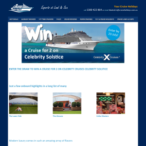 Win a Cruise for 2 on Celebrity Cruises - Celebrity Solstice + US$300 onboard spending credit!