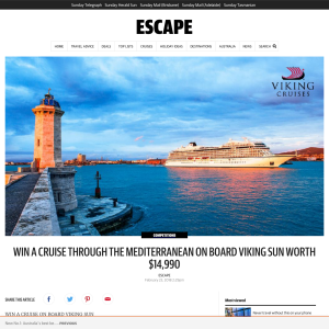 Win a cruise through the Mediterranean on board viking sun