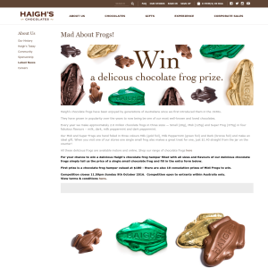 Win a delicious chocolate frog prize!