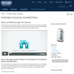 Win a DeLonghi Inverter Water to Air Portable Air Conditioner!