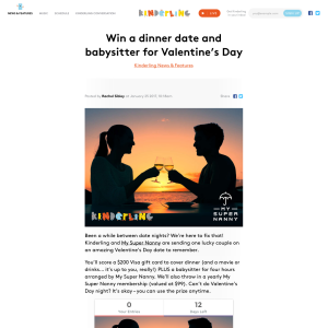 Win a dinner date & babysitter for Valentine's Day!