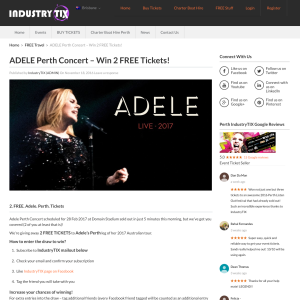 Win a Double Pass to see Adele Live in Perth from Industry TIX