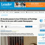 Win a double passes to tour D Division at Pentridge Prison to be won with Leader Newspapers