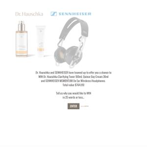 Win a Dr. Hauschka Clarifying Toner, Quince Day Cream & 'SENNHEISER MOMENTUM' On Ear Wirelesss Headphones!