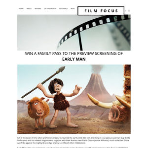 Win a family pass to the preview screening of Early Man