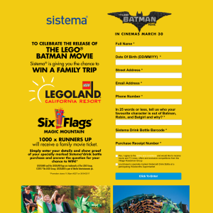 Win a family trip to LEGOLAND California Resort or 1 of 1,000 family movie passes to see 'The LEGO Batman Movie'! (Purchase Required)