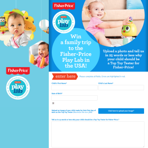 Win a family trip to the Fisher-Price 'Play Lab' in the USA!