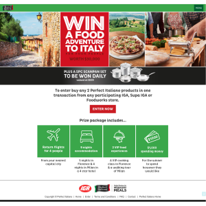 Win a food adventure to Italy for 4 people worth $30,000! (Purchase Required)