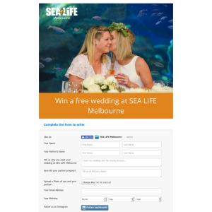 Win a free wedding at SEA LIFE Melbourne