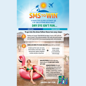 Win a Hamilton Island getaway or 1 of 100 'Systane' Beach Bags! (Purchase Required)
