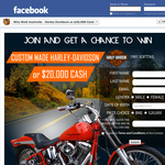 Win a Harley Davidson motorcycle or $20,000 cash!