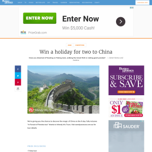 Win a holiday for two to China with Wendy Wu Tours