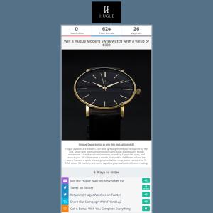 Win a Hugue Modern Swiss watch with a value of $339