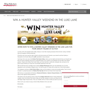Win a Hunter Valley Weekend for 4