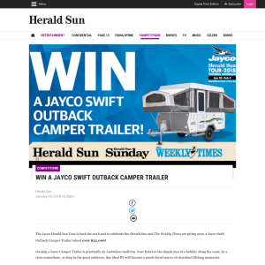 Win a Jayco Swift Outback Camper Trailer