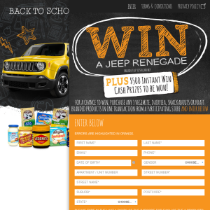 Win a JEEP Renegade + $500 instant win cash prizes to be won!